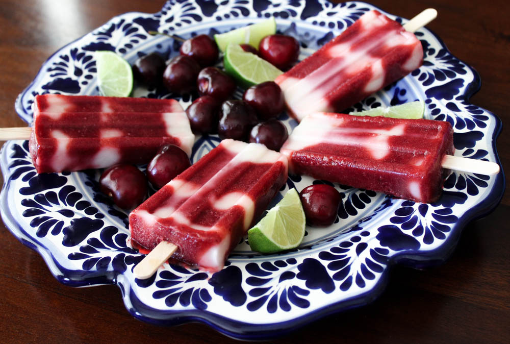 Cherry Lime Yogurt Paletas