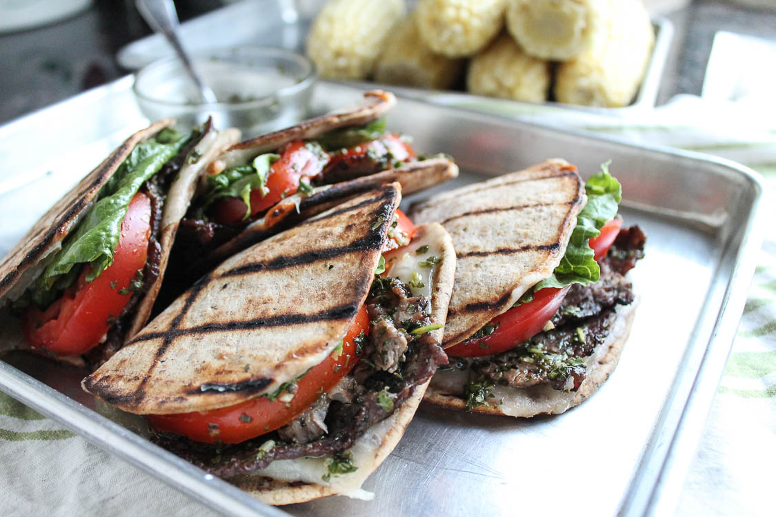 Grilled steak and cheese sandwich