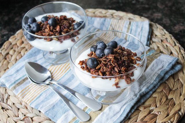 Yogurt topped with Mexican chocolate granola and blueberries